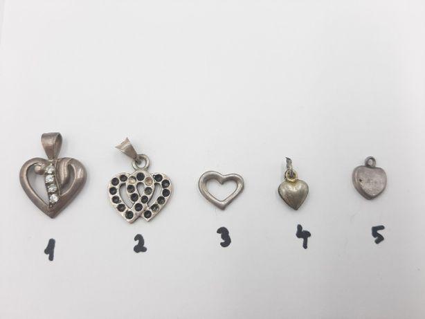 """Lot 5 mici pandantive vintage """"inimioare """" din argint 925 -de colectie"""