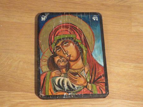 Стара ръчно рисувана икона икона на света богородица умиление, икона