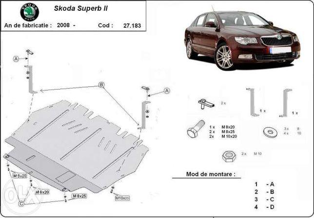 Scut metalic pentru motor Skoda Superb 2008-2015 - otel 2mm