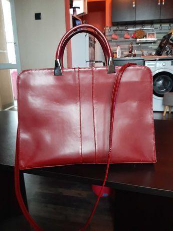 Червена чанта Genuine Weather от естествена кожа