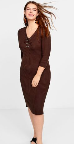 Rochie toamna MANGO Violeta maro tricotata material fin - L - 99 RON