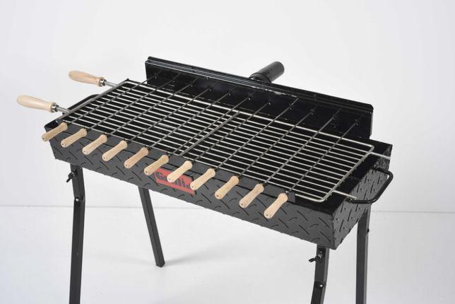 Gratar carbune, 11 frigarui, rotiserie automata, si grill traditional