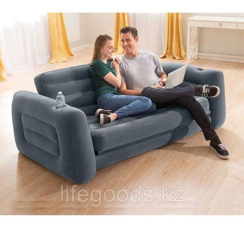 Двухместный надувной матрас диван-трансформер (раскладной) Intex 66552