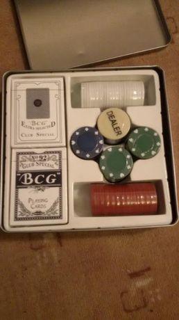 карти за игра и жетони ПОКЕР СЕТ в метална кутия