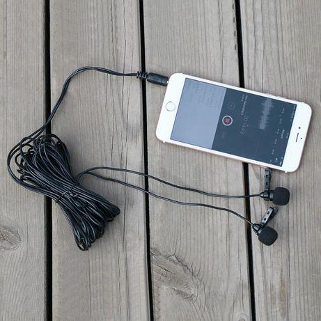 Двойной проводной петличка микрофон для камер, смартфонов и планшетов