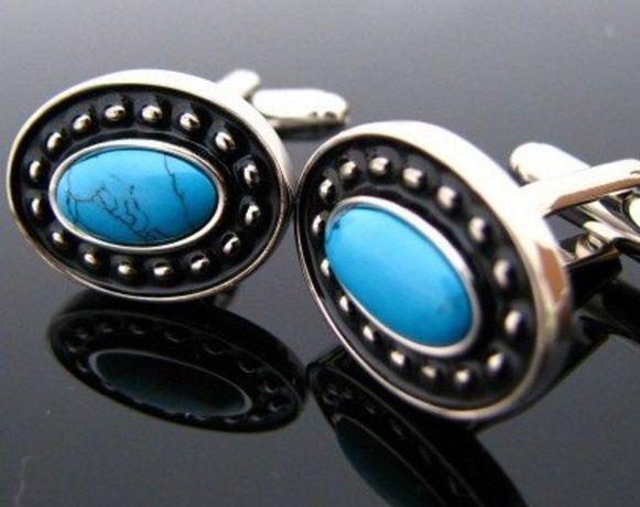 Butoni ovali argintii cu turcoaze (cod 2525)