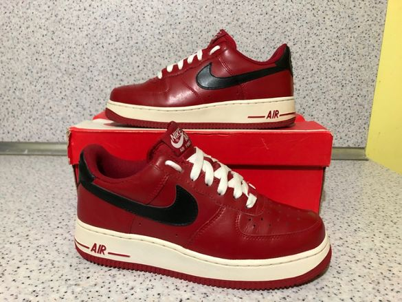 ОРИГИНАЛНИ *** Nike Air Force 1 `07 Low / Red & Black Leather