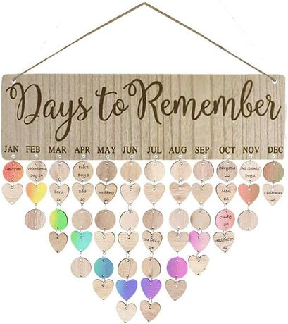 Нов Дървен календар за семейни дати декорация на стена подарък
