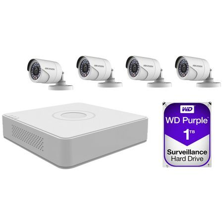 Kit supraveghere video exterior Hikvision, 4 camere + 1TB HDD