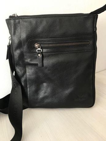 Стилна мъжка чанта Armani от естествена кожа 9