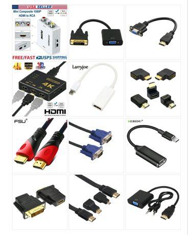 Переходники кабель Hdmi Vga USB LAN Aux DVI Type C AV DP купить Алматы