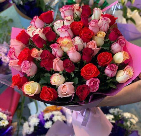 Доставка цветов,розы красные розовые жёлтые