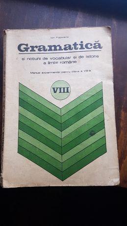 Vand manual de gramatica romana cls. 8-a din 1975
