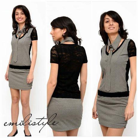 Дизайнерска рокля с къс ръкав