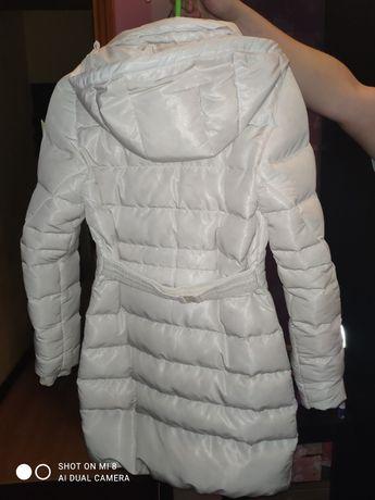 Пальто пуховик белое зимнее женское