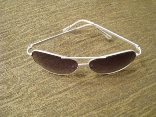 Ochelari de soare, rama metalica alba, model clasic Aviator
