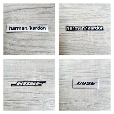 Set-4-Embleme-Sigla-Logo-Sticker-Bose-Harman-Kardon-Bmw-Audi-Mercedes
