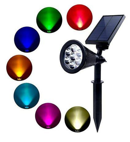 Lampa solara tip proiector Led RGB 7 leduri IP65 pentru curte-gradina
