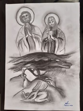 Schita Sf Petru, Sf Gheorghe, balaurul si mucenita, carbune si grafit