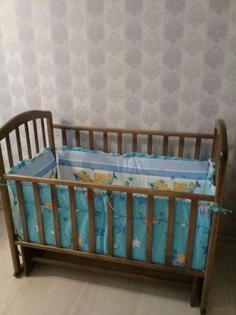 Кровать детская, ортопедический матрас, бортики