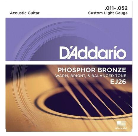 Струны для акустической гитары D'Addario Custom Light EJ26 11-52