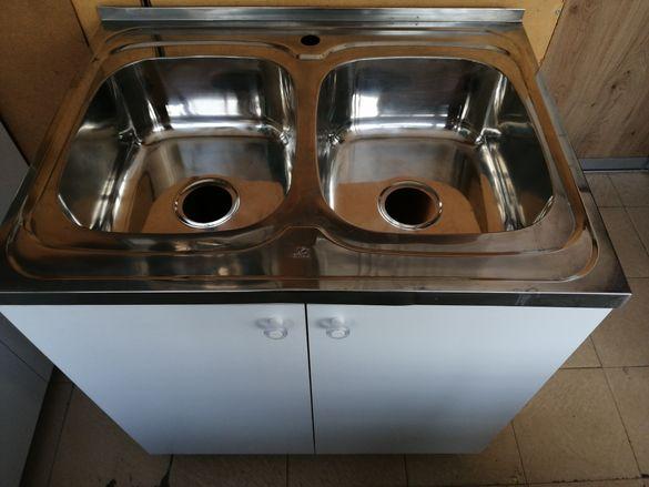 Кухненски шкаф с мивка с две 2 корита за кухня двукоритна бордова