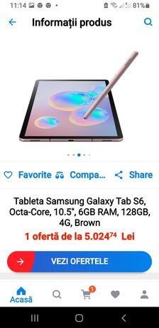 Tabletă Samsung S 6  Sm T 865 4 G  slot sim slot card memoriWi-Fi Nouă