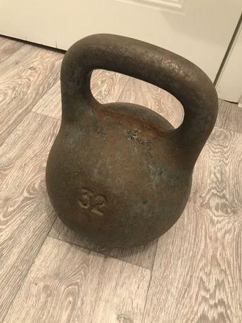 Гиря советская чугунная, 32 кг