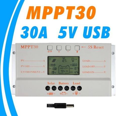 Соларен контролер 30А MPPT ВИСОК КЛАС амперметър волтметър регулатор