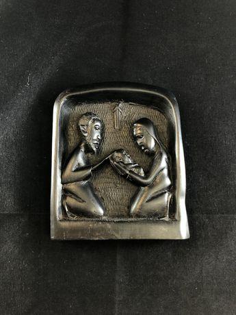 Basorelief scultptura veche abanos sau ceramica de colectie vintage