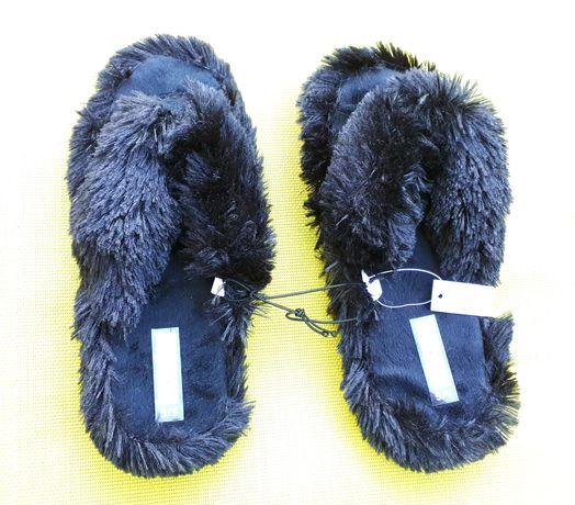 Атрактивни Черни Пухени джапанки-пантофи flip-flop цена-25лв.