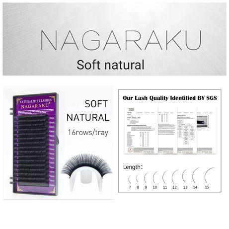 Nagaraku черни копринени мигли за миглопластика удължаване и сгъстяван
