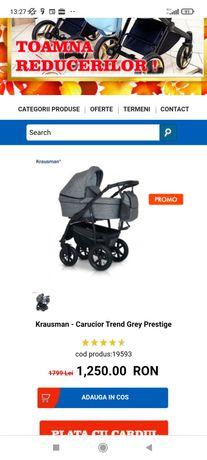 Krausman - Carucior Trend Grey Prestige 3 în 1