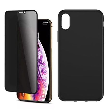 Iphone X XS XR XS MAX - Pachet Husa Silicon + Folie Sticla Privacy 6D