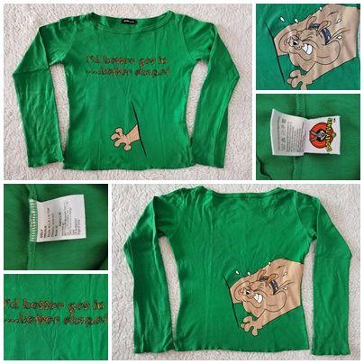 Bluza verde dama Only imprimeu caine fata spate tricou maneca lunga