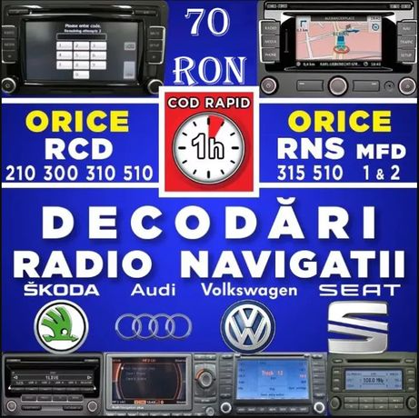 DECODARE La Distanta Radio Navigatie VW Skoda Audi RNS RCD Cod Pin