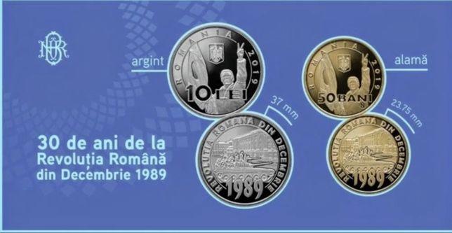 Moneda argint 10 lei Revolutia 1989 BNR 30 de ani set cadou