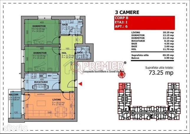 Ap 3 camere, 2 bai, comision 0, zona Giurgiului