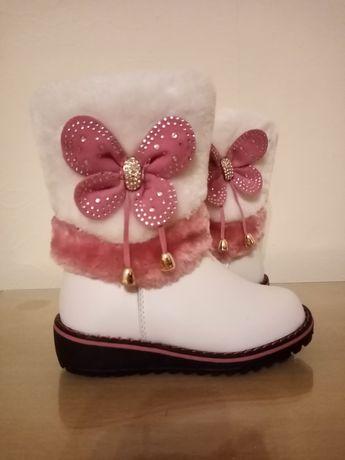 Детски топли зимни ботуши за момиче с топъл хастар бели стелка 14,5 см