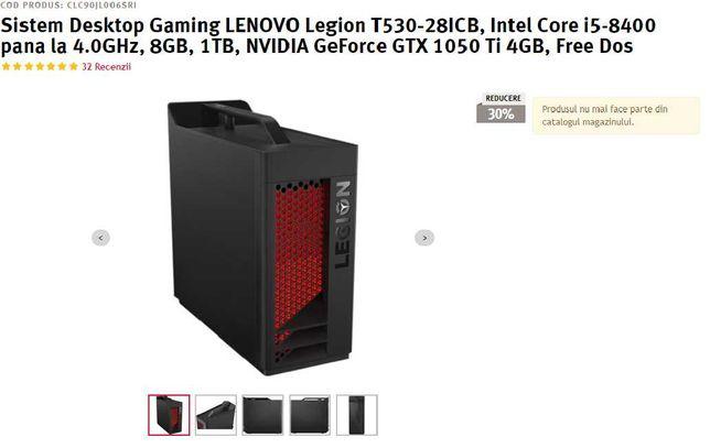 PC Lenovo Legion i5-8400,GTX 1050 TI 4GB, 1 TB, 8GB RAM
