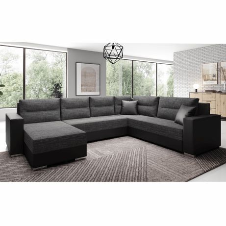 Set canapea universală, negru / negru şuviţat, STILA