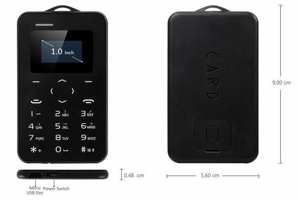 Нов AIEK М5 ултра компактен мобилен телефон с размерите на кредитна ка