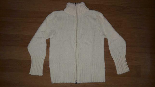 Pulover alb cu fermoar, marimea M, material acrilic
