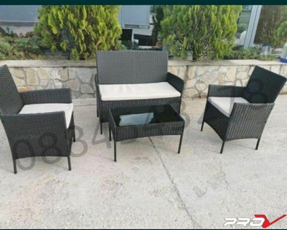 Градински ратанов комплект от високо качество - столове, канапе и маса