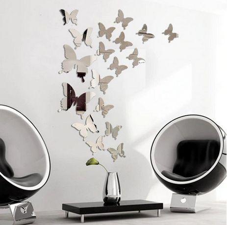 3D огледални златисти или сребристи пеперуди арт стил и декорация