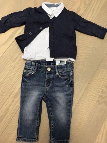 Blugi cu jerseu și cămașă 4-6 luni
