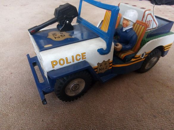 Vintage Japanese POLICE P. D. No. 2 JEEP TIN TOY