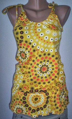 Maieu Top galben floricele Super lejer Hippie Bluza IN lunga GoGosar