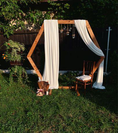 Decor evenimente nunta/ botez, arcada lemn, photocorner, decoratiuni