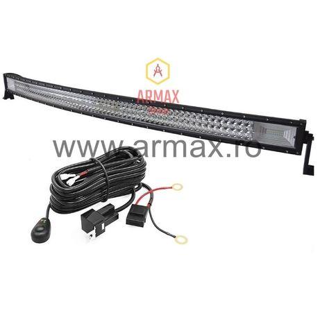 Set proiector auto led bar curbat offroad tir 132 cm 675w + kit releu